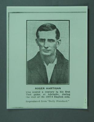 Copy of 'Daily Standard' photograph of cricketer Roger Hartigan