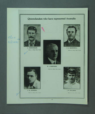 Photograph of page of book featuring images of Queensland cricketers who have played for Australia; Photography; M14854