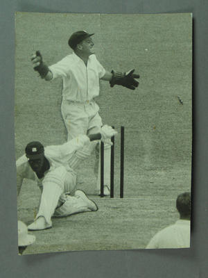 Photograph of dismissal of Wes Hall, Australia v West Indies Tied Test, 1960