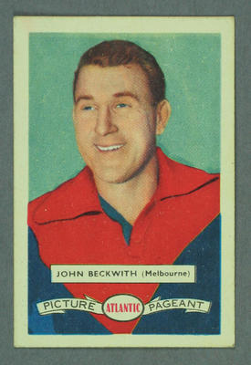 1958 Atlantic Picture Pageant VFL Footballers John Beckwith trade card