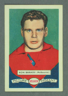 1958 Atlantic Picture Pageant VFL Footballers Ron Barassi trade card; Documents and books; Photography; M14880
