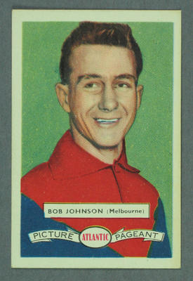 1958 Atlantic Picture Pageant VFL Footballers Bob Johnson trade card