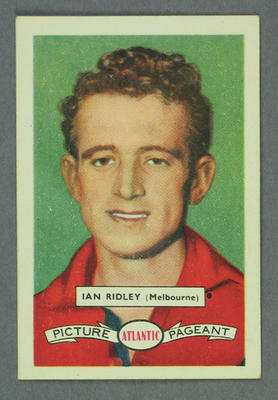 1958 Atlantic Picture Pageant VFL Footballers Ian Ridley trade card