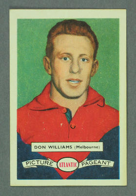 1958 Atlantic Picture Pageant VFL Footballers Don Williams trade card