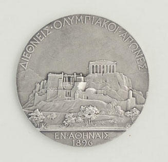 Silver medal awarded to Edwin Flack as winner of 800m race at 1896 Olympic Games
