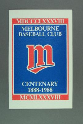 Menu, Melbourne Baseball Club - Centenary Dinner, 1988
