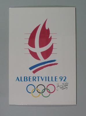 Poster, 1992 Winter Olympic Games logo - signed by Johann Koss