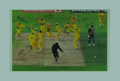 Photograph, final wicket of 1999 Cricket World Cup semi-final - autographed by Australian team