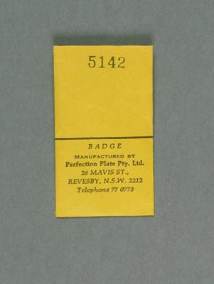 Envelope for WACA membership badge, season 1985