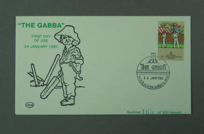 """First day cover, """"The Gabba"""" pictorial postmark - 24 Jan 1986; Philatelics and currency; M5525.1"""