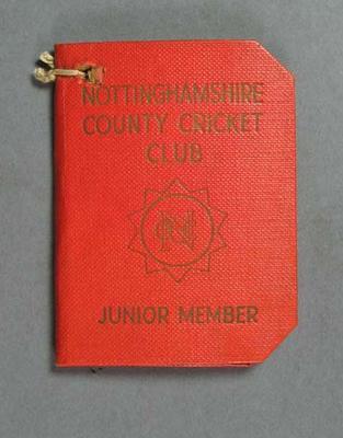 Membership ticket, Nottinghamshire County Cricket Club - Junior 1959