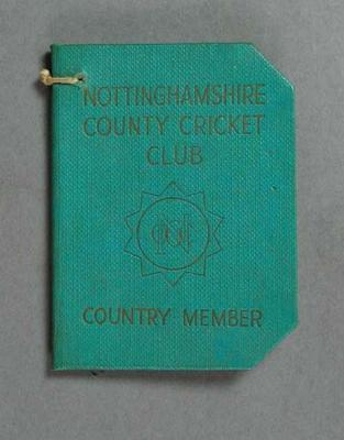 Membership ticket, Nottinghamshire County Cricket Club - Country 1960