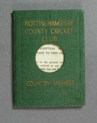 Membership ticket, Nottinghamshire County Cricket Club - Country 1966