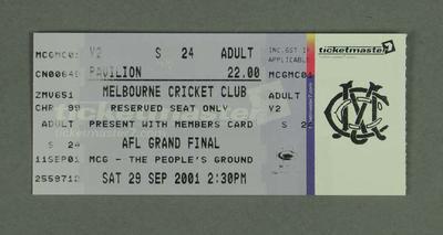Ticket, 2001 AFL Grand Final - MCC Reserve