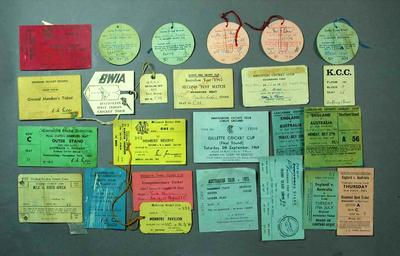 Variety of cricket associated tickets and passes, c1960s
