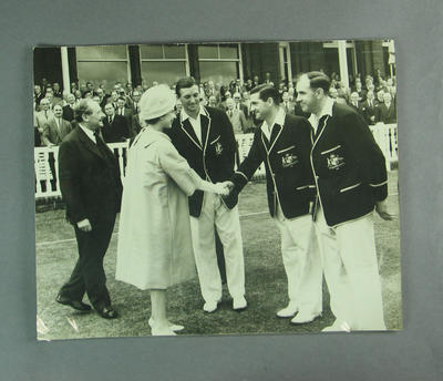 The Queen with R. Benaud, N. Harvey, C. McDonald at Lord's CG, 22 June 1961