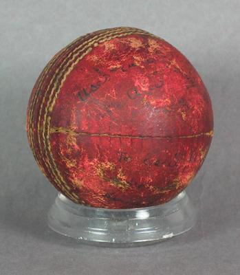 Used cricket ball, c1929