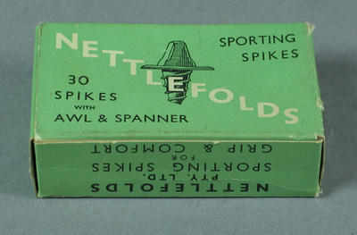 Box of sporting spikes, Nettlefolds