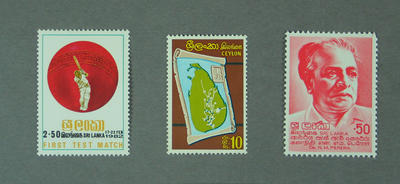 Three loose stamps, issued by Sri Lanka