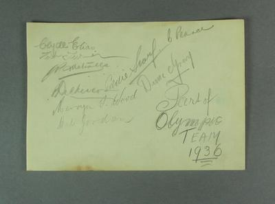 Autograph sheet, various Australian athletes c1936 Olympic Games