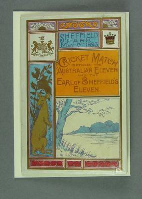 Menu - Australian XI v Earl of Sheffield's XI cricket match, May 9 1893