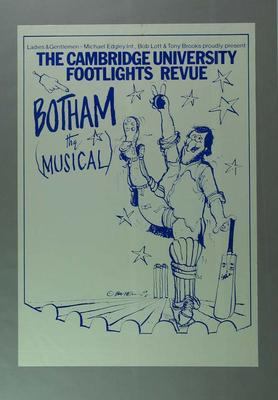 """Poster, advertises """"Botham The Musical"""" c1981; Documents and books; 1988.1945.2"""