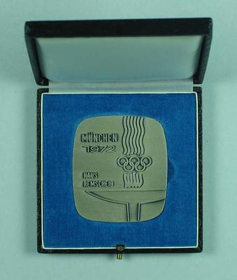 Commemorative medallion, 1972 Munich Olympic Games; Trophies and awards; 1992.2582.7