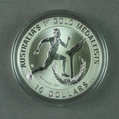 Commemorative coin, Edwin Flack design c1994; Philatelics and currency; 1994.3021.1