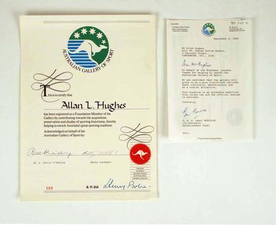 Certificate and letter of thanks from AGOS, addressed to Allan Hughes