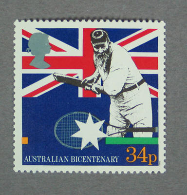 Postage stamp featuring cricketer WG Grace, issued by Great Britain