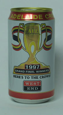 Commemorative beer can, Adelaide Crows FC 1997 AFL Premiers