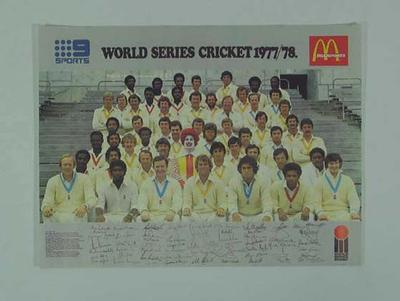 Poster, World Series Cricket tournament 1977/78
