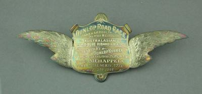 Sash brooch, Dunlop Road Race Warrnambool-Melbourne 3 Oct 1908