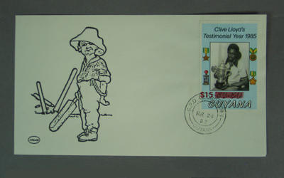 First day cover for Guyana stamp, issued to celebrate Clive Lloyd's testimonial year in 1985; Philatelics and currency; M15127