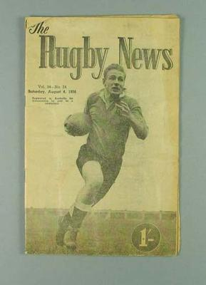 """Magazine, """"The Rugby News"""" 4 Aug 1956"""