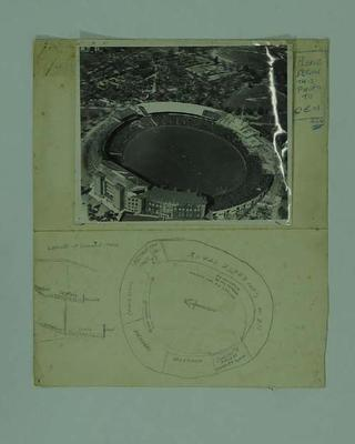 Sketch and photograph, construction of Southern Stand at Melbourne Cricket Ground - c1935-36