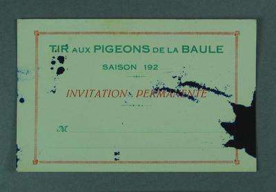 Tir aux Pigeons de la Baule, invitation permanente c1920s
