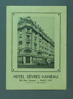 Advertising flyer for Hotel Sevres-Vaneau, Paris