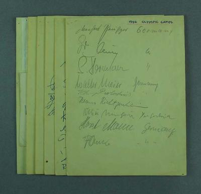 Six Small Sheets of Autographs of athletes from the 1956 Melbourne Olympic Games, and also  Collingwood F.C. players Murray Weideman and Thorold Merrett.