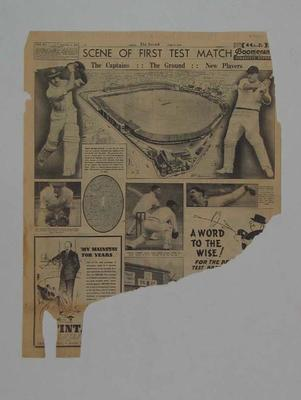 Portion of 'The Herald' 10 June 1938 1st Ashes Test at Trent Bridge; Documents and books; M7460