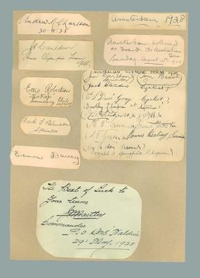Autographs of Australian 1928 Olympic Games team