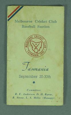 Programme for MCC Baseball section tour to Tasmania, 1951