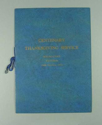 Order of service, Centenary Thanksgiving Service held at MCG 14 Oct 1934