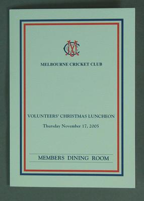 Menu from MCC Volunteers Christmas Luncheon 2005