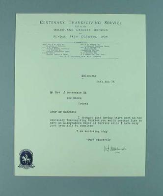 Note accompanying Centenary Thanksgiving Order of Service, 25 March 1934