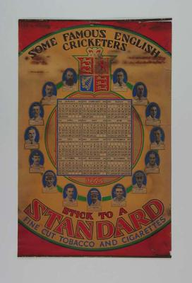 1933 Calendar 'Some Famous English Cricketers' issued by Standard Cigarettes; Documents and books; M7384