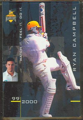 1999/2000 Western Warriors cricket team Ryan Campbell trade card