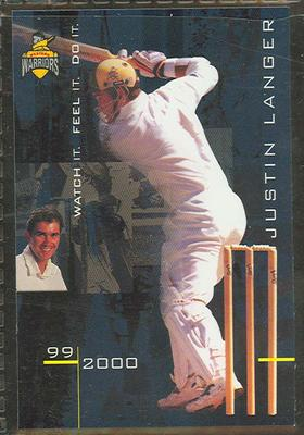 1999/2000 Western Warriors cricket team Justin Langer trade card