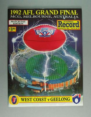 Football Record, 1992 AFL Grand Final; Documents and books; Documents and books; 2006.5266