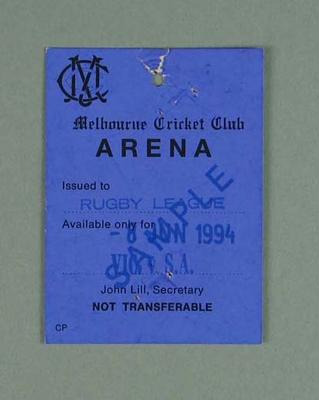 Sample arena pass, 1994 State of Origin match at MCG